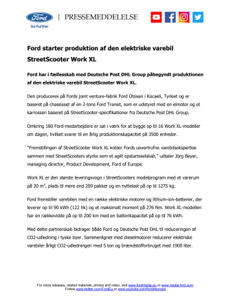Ford starter produktion af den elektriske varebil StreetScooter Work XL