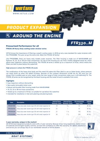 VETUS FTR330..M water strainers - Information Sheet