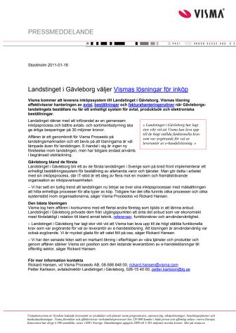 Landstinget i Gävleborg väljer Vismas lösningar för inköp