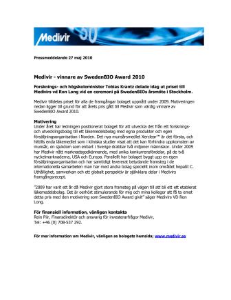 Medivir - Vinnare av Sweden BIO Award 2010