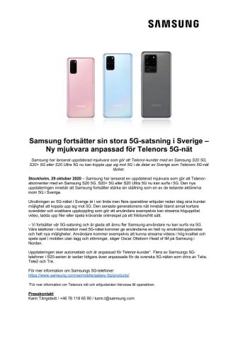 Samsung fortsätter sin stora 5G-satsning i Sverige – Ny mjukvara anpassad för Telenors 5G-nät