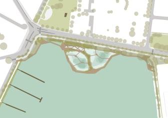 Illustration över dagvattenpark (Illustration: 02Landskap)