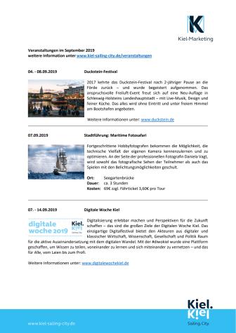 Veranstaltungen im September 2019