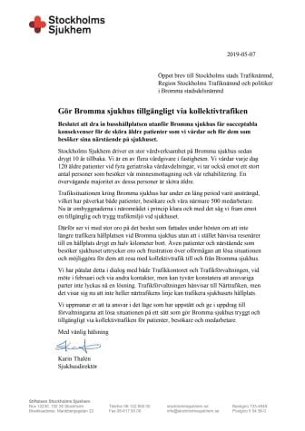 Gör Bromma sjukhus tillgängligt via kollektivtrafiken
