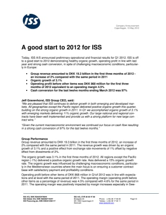 A good start to 2012 for ISS