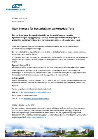 Stort intresse för bostadsrätter på Kortedala Torg