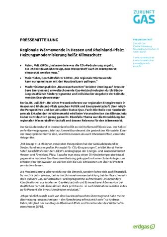 Regionale Wärmewende in Hessen und Rheinland-Pfalz: Heizungsmodernisierung heißt Klimaschutz