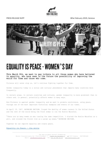 Equality is Peace - International Women's Day