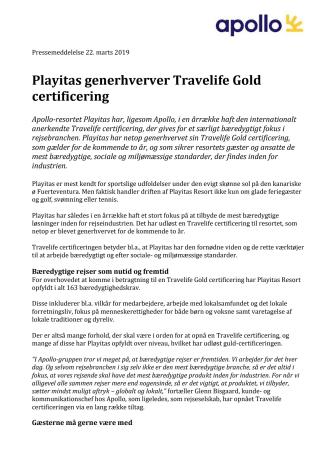 Playitas generhverver Travelife Gold certificering
