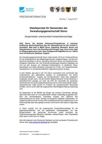 Glasfasernetz für Gemeinden der Verwaltungsgemeinschaft Glonn:  Bürgermeister unterschreiben Kooperationsverträge