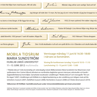 """Vernissage HUMlab, Umeå universitet: """"Mobila tidsrum"""" av Maria Sundström"""