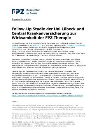 Follow-Up Studie der Uni Lübeck und Central Krankenversicherung zur Wirksamkeit der FPZ Therapie