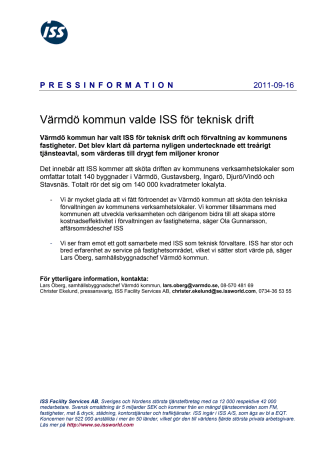Värmdö kommun valde ISS för teknisk drift