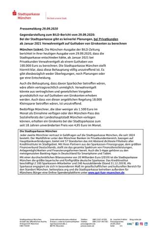 Gegendarstellung zum BILD-Bericht vom 29.09.2020: Bei der Stadtsparkasse gibt es keinerlei Planungen, bei Privatkunden ab Januar 2021 Verwahrentgelt auf Guthaben von Girokonten zu berechnen.