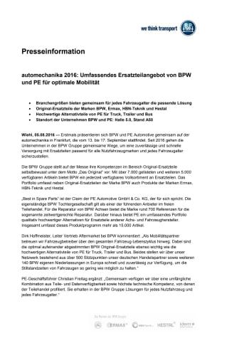 automechanika 2016: Umfassendes Ersatzteilangebot von BPW und PE für optimale Mobilität