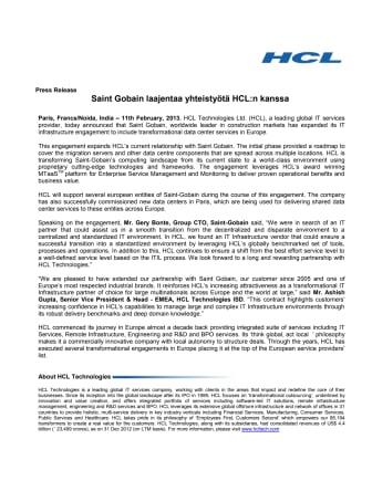 Saint Gobain laajentaa yhteistyötä HCL:n kanssa