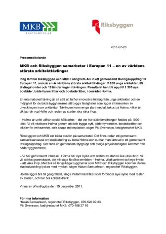 MKB och Riksbyggen samarbetar i Europan 11 – en av världens största arkitekttävlingar