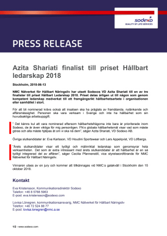 Azita Shariati finalist till priset Hållbart ledarskap 2018