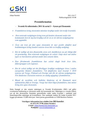 -Svenskt Kvalitetsindex 2011 Kvartal 3 – Synen på Ekonomin