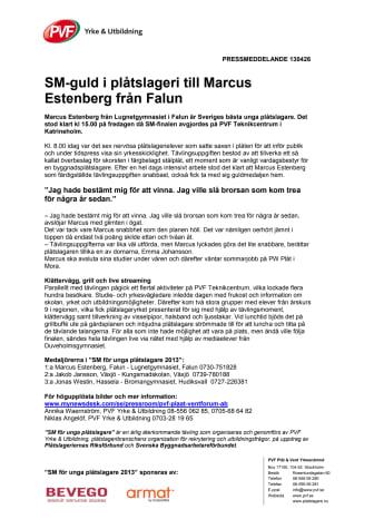 SM-guld i plåtslageri till Marcus Estenberg från Falun