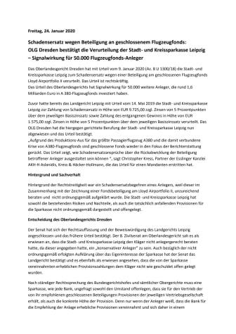 Schadensersatz wegen Beteiligung an geschlossenem Flugzeugfonds:  OLG Dresden bestätigt die Verurteilung der Stadt- und Kreissparkasse Leipzig – Signalwirkung für 50.000 Flugzeugfonds-Anleger