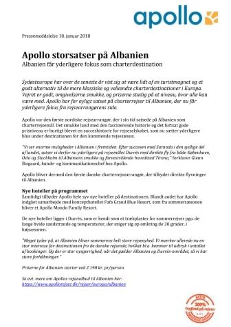 Apollo storsatser på Albanien