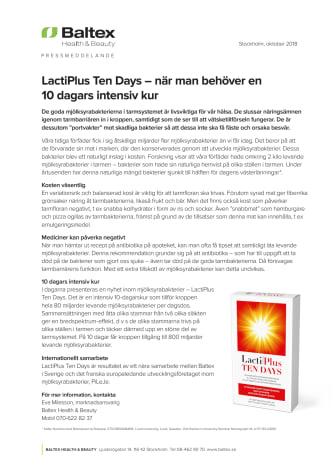 LactiPlus Ten Days – när man behöver en 10 dagars intensiv kur
