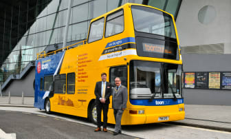Go North East MD, Martijn Gilbert, and Mayor of Gateshead, Councillor Michael Hood, at the launch of NewcastleGateshead Toon Tour