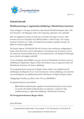 Medfinansiering av tågteknikerutbildning i Hässleholms kommun