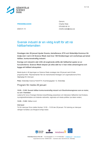 Pressinbjudan Science Week: Svensk industri är en viktig kraft för att nå hållbarhetsmålen