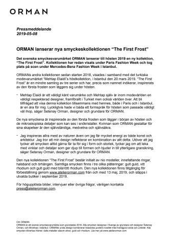 "ORMAN lanserar nya smyckeskollektionen ""The First Frost"""