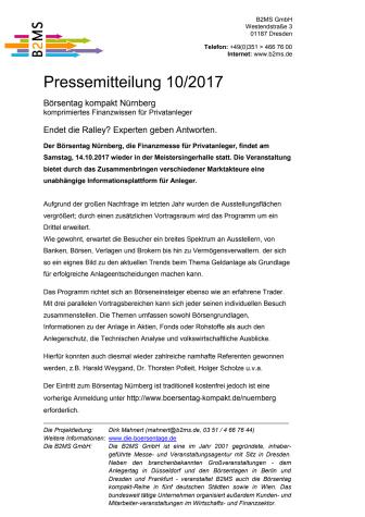 Endet die Ralley? Experten geben Antworten. - Börsentag Kompakt Nürnberg, 14.10.2017