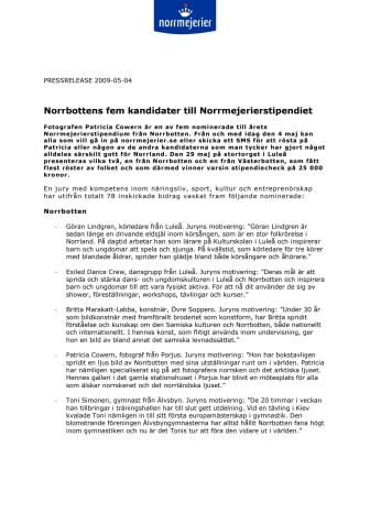 Norrbottens fem kandidater till Norrmejerierstipendiet
