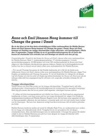 Anna och Emil Jönsson Haag kommer till Change the game i Umeå