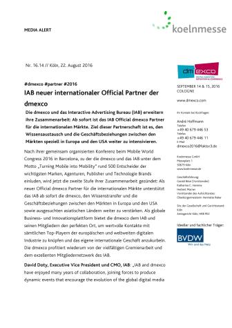 IAB neuer internationaler Official Partner der dmexco