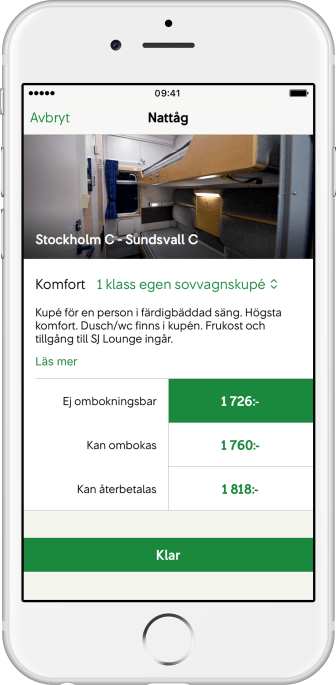 SJ App Nattåg 2