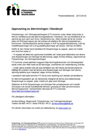 Upprustning av återvinningen i Danderyd