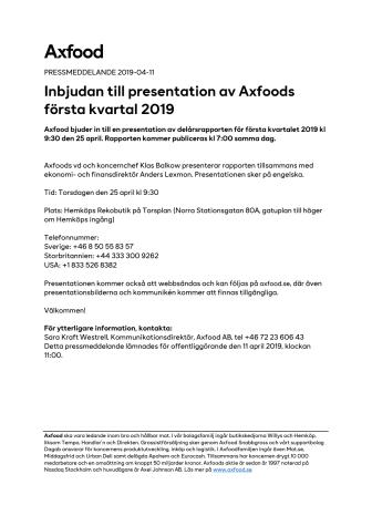 Inbjudan till presentation av Axfoods första kvartal 2019