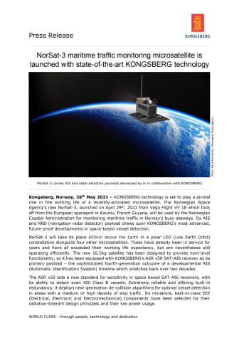 NorSat-3 maritime traffic monitoring microsatellite is launched with state-of-the-art KONGSBERG technology