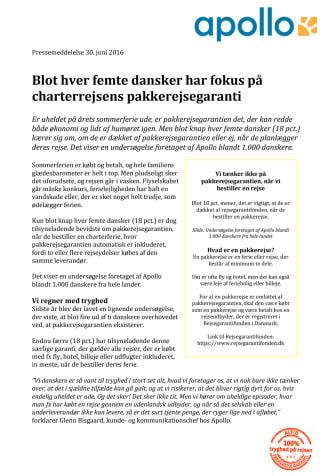 Blot hver femte dansker har fokus på charterrejsens pakkerejsegaranti