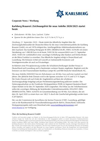 Pressemitteilung Karlsberg Brauerei Start Zeichnungsfrist