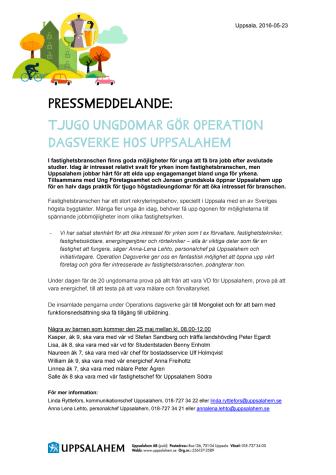 Tjugo ungdomar gör Operation Dagsverke hos Uppsalahem