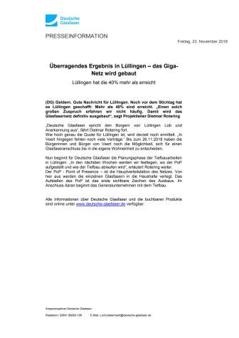 Überragendes Ergebnis in Lüllingen – das Giga-Netz wird gebaut