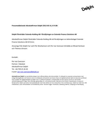 Delphi företräder Extenda Holding AB i försäljningen av Extenda Finance Solutions AB