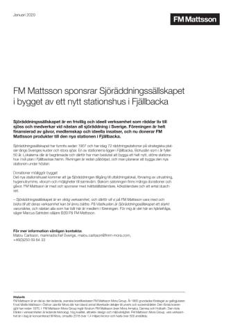 FM Mattsson sponsrar Sjöräddningssällskapet i bygget av ett nytt stationshus i Fjällbacka