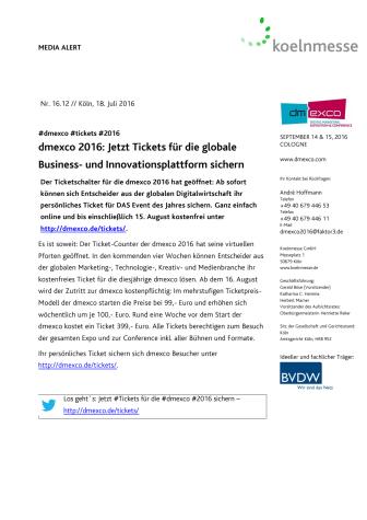 dmexco 2016: Jetzt Tickets für die globale Business- und Innovationsplattform sichern