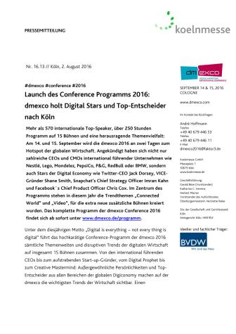 Launch des Conference Programms 2016: dmexco holt Digital Stars und Top-Entscheider nach Köln