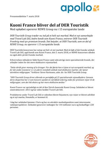 Kuoni France bliver del af DER Touristik