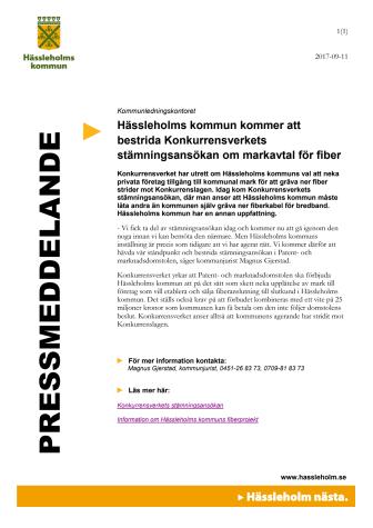 Hässleholms kommun kommer att bestrida Konkurrensverkets stämningsansökan om markavtal för fiber