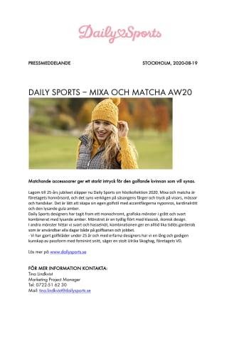 DAILY SPORTS – MIXA OCH MATCHA AW20